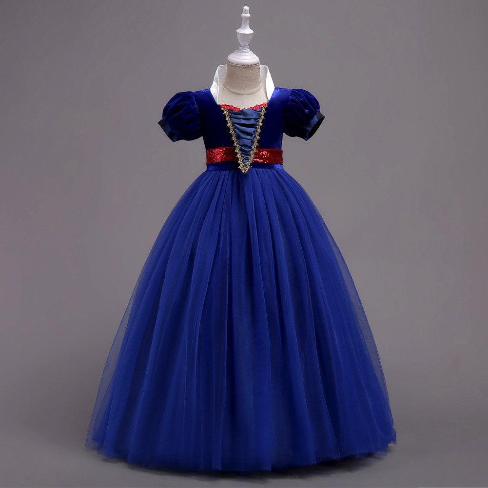 Children Girls Snow White Short Sleeve Dresses Tulle Sweet Princess Dress