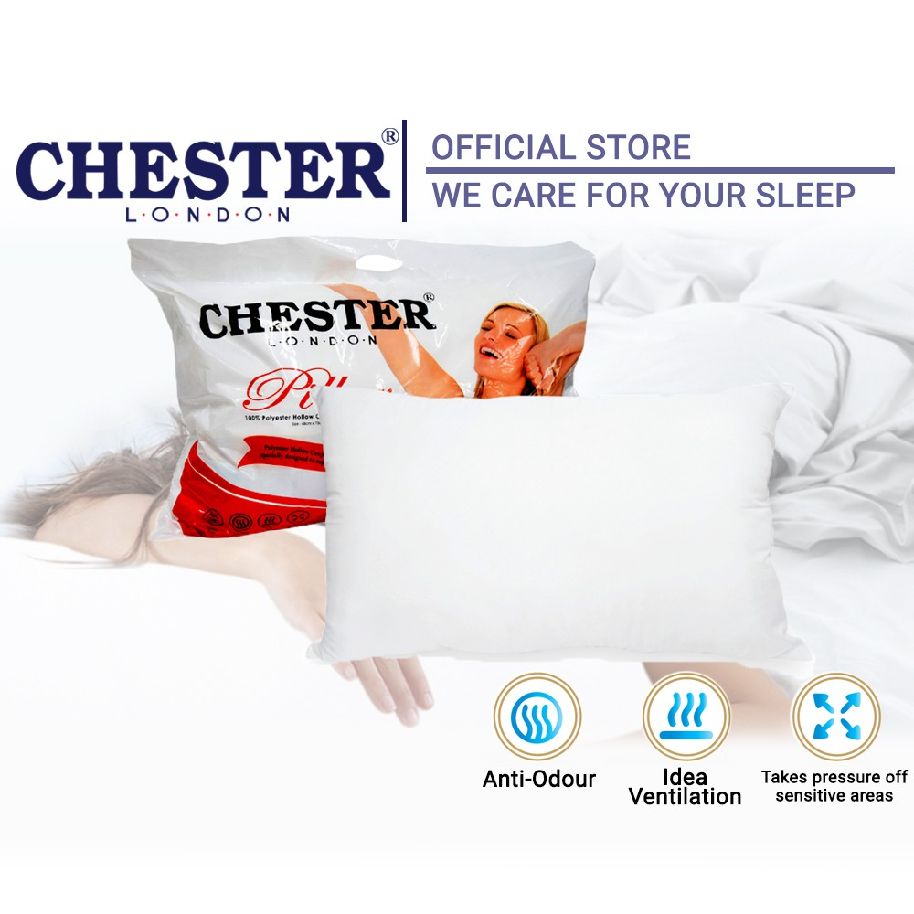 "Chester London 100% Polyester Hollow Conjugate Siliconized Fibre Pillow Bantal Tidur Terapi Aroma 19"" x29"""
