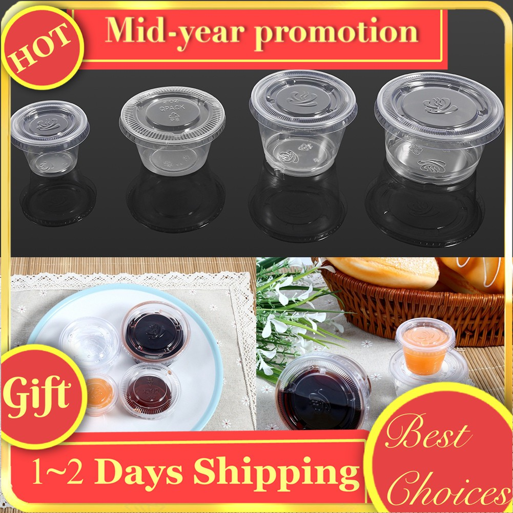 d4bee1c6e77f 50X Plastic Round Dipping Sauce Disposable Small Container Cups Lids  Takeaway AU