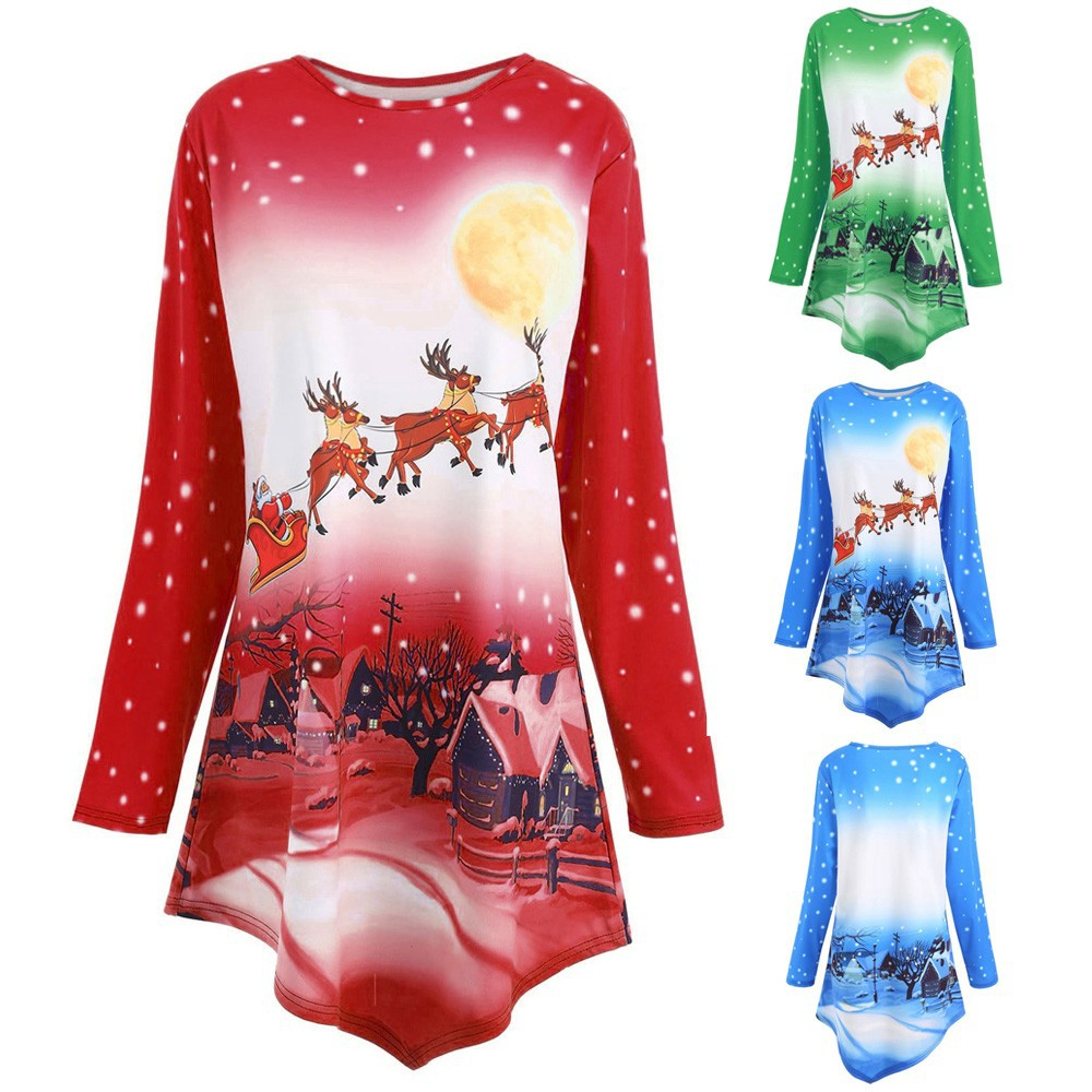 Women Casual Skew-Neck Christmas Deer Print Long Sleeve Sweatshirt Winter Warm Tunic Sweatershirts UK Size S Womens Blouses Sale Autumn Plus Size Tops XXXXL