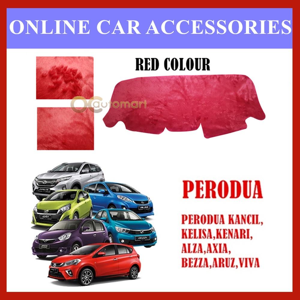 Customized Dashboard Cover Fur / Bulu For Perodua Car (Myvi,Kelisa,Kenari,Kancil,Alza,Aruz,Bezza,Axia,Viva) - Colour Red