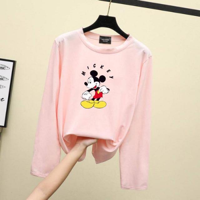 -Malaysia Store- Mickey Mouse Triple AAA Long Sleeve soft Uniqlo Quality Women Tee Baju Cantik Baju RAYA