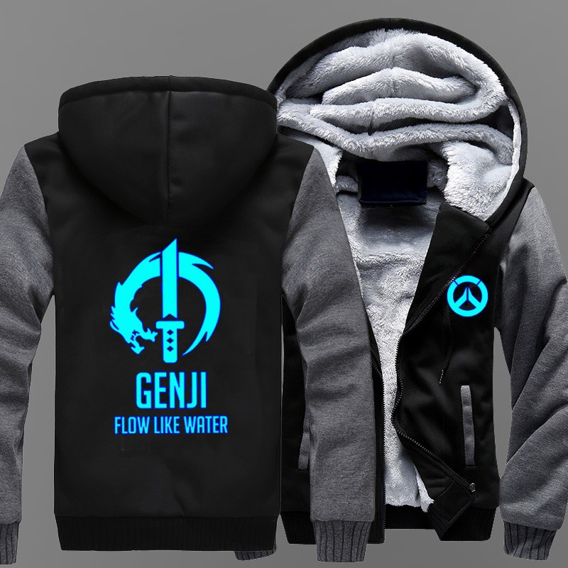 1d321704d New Overwatch Men Zipper Jacket GENJI Printing Pattern Thicken Hoodie Coat