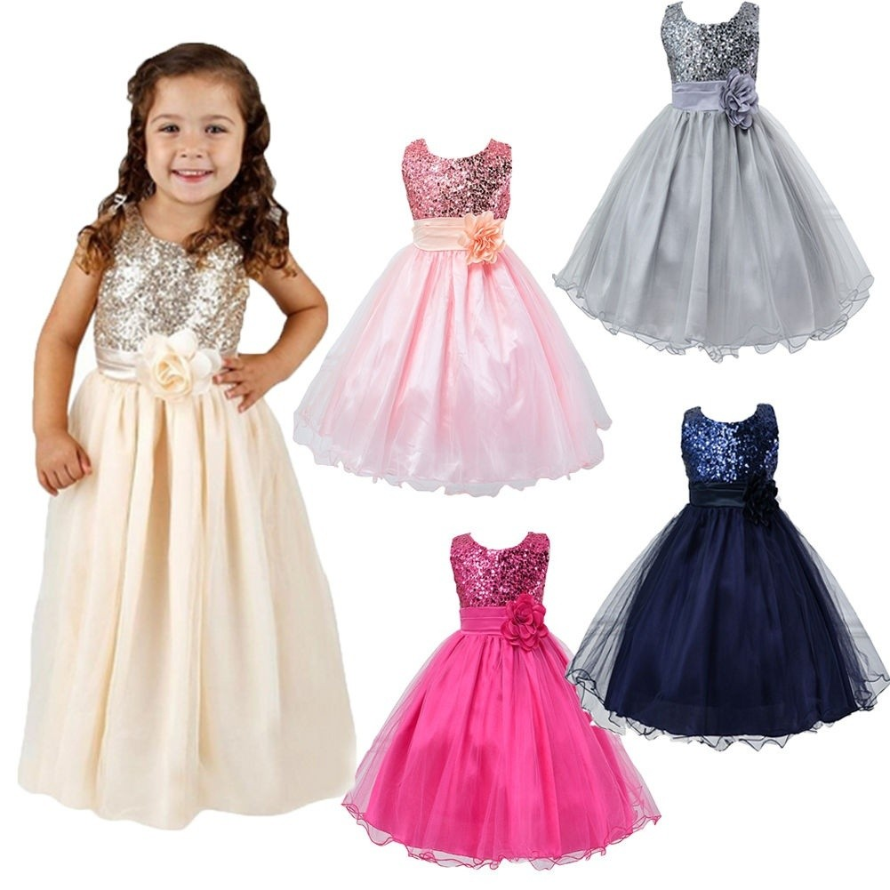 e04605cfabe56 Flower Girl Kids Baby Xmas Bridesmaid Party Formal Sequin Ball Gown Dress  2-10Y