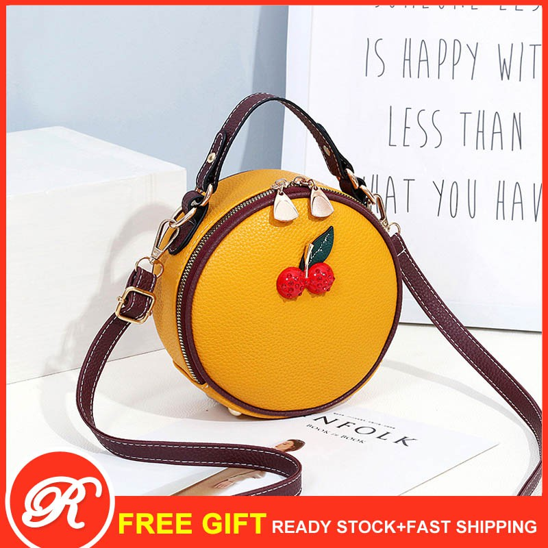 New Fashion Strawberry Round Bag Women Sling Crossbody Bags Beg Color Blocking