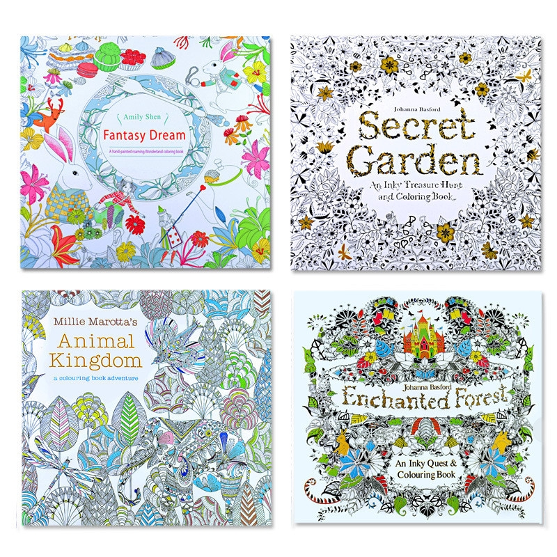 Children Adult English Animal Kingdom Treasure Relax Coloring Book