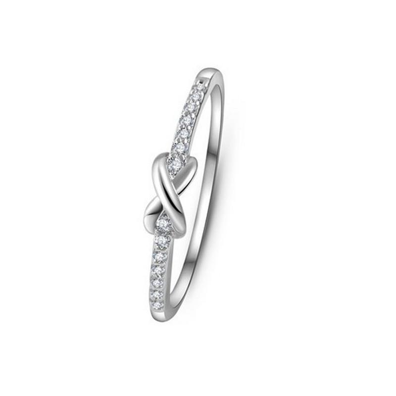 925 Silver White Topaz Sapphire Infinity Fashion Jewelry Women Wedding Ring 6~9