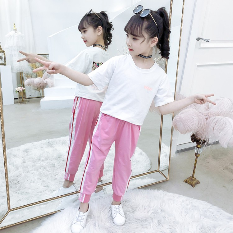 603c96fa3fb22 Summer Girls Clothes Sets Baby Girl Short Sleeve Shirt Top+Pants Suits Kids  Clothing 2pcs