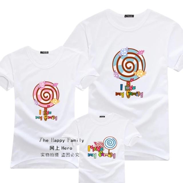 [XS~3XL]Family Set Wear Lollipop T Shirt 亲子装三口夏装新款全家装纯棉短袖T恤棒棒糖母子装母女装