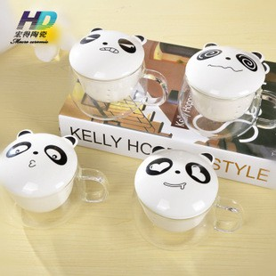 [Ready Stock] Cute Panda Emoticon Theme Porcelain Glass Cup