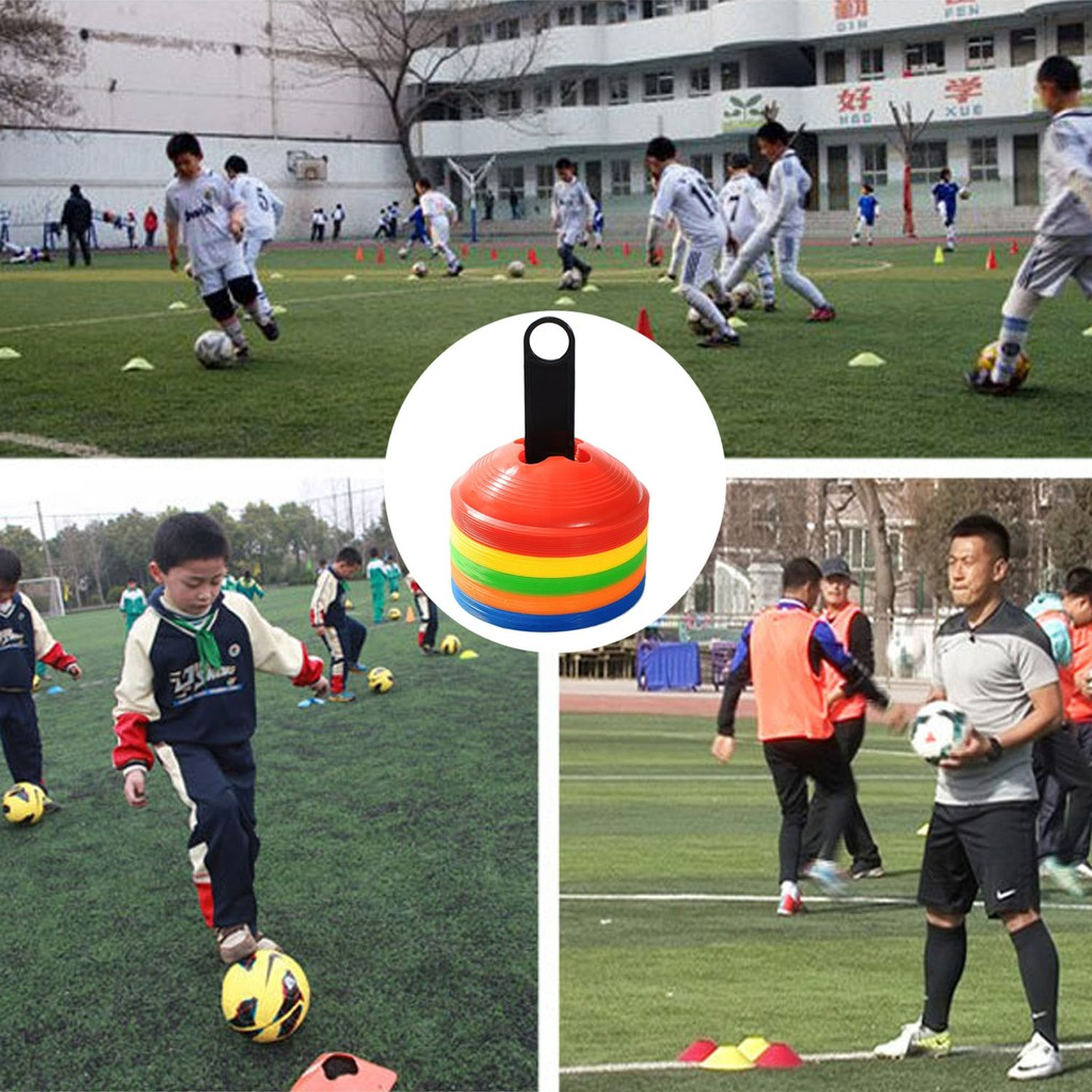 Football Sports Training Disc Boundry Marking Cones Assorted Colour Set Of 20