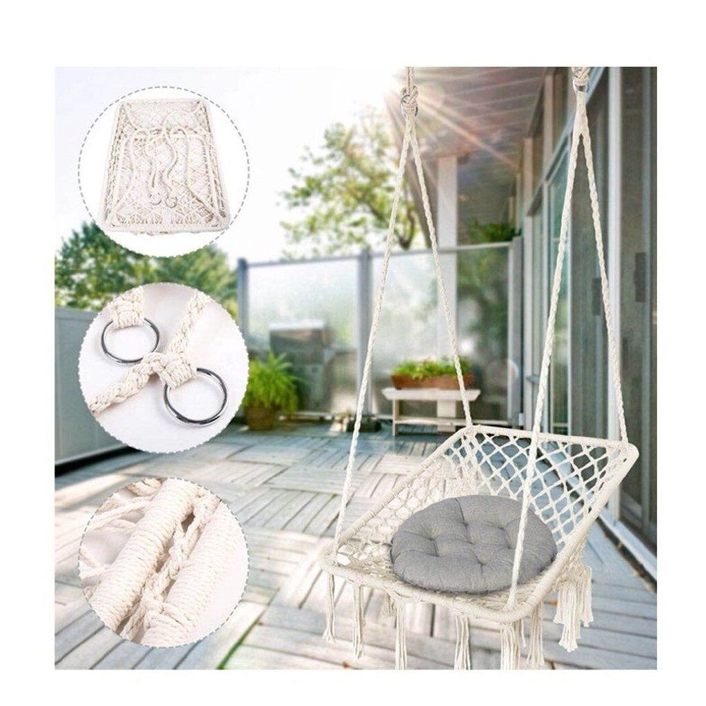 Hanging Hammock Chair Macrame Swing Handmade Cotton Rope Swing