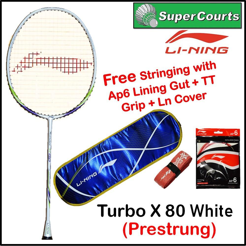 Lining Turbo X 80 White+ Free Gift (String) Badminton Racket | Shopee Malaysia