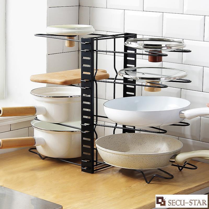 Kitchen Rack Adjustable Metal Cabinet Pantry Pan Pot Lid Kitchen Organizer Dish Rack Shelf Holder Bakeware Plate Shopee Malaysia