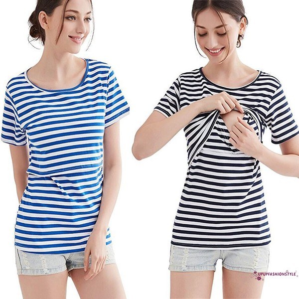Women Summer Pregnant Maternity Nursing Stripe Breastfeeding Top T-Shirt Blouse