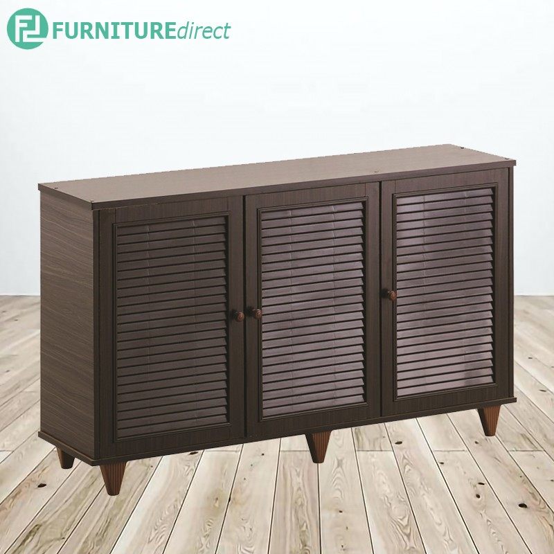 Furniture Direct GORDON 3 DOOR SHOE CABINET- CAPUCCINO