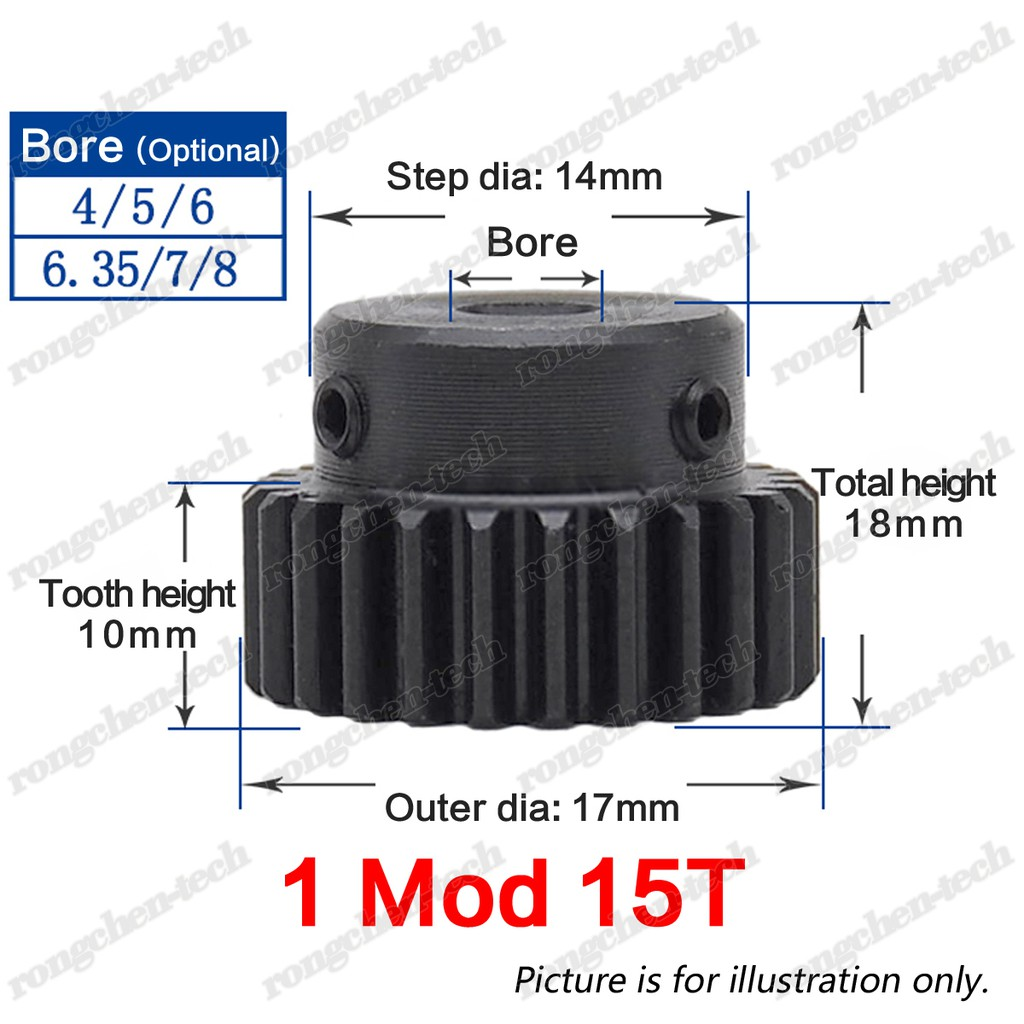Bore: 8mm, 1.5Mod 20T 1.5Mod 20T Spur Gear With Step 45# Steel Heavy Duty Motor Pinion Gear 8mm Bore With Set Screws