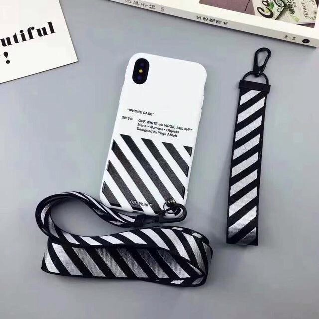 brand new f5502 83777 Iphone 5/5S/SE/6/6S Off White TPU Case with Lanyard
