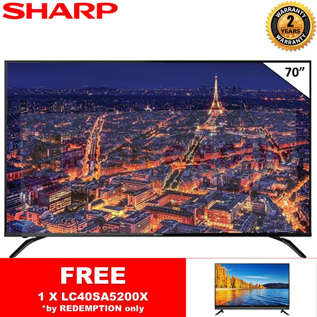 """SHARP 4TC70AH1X 70"""" 4K UHD DVB-T2 EASY SMART TV DTTV IDTV MYTV MYFREEVIEW SUPPORTED FREE LC40SA5200X *BY REDEMPTION ONLY"""