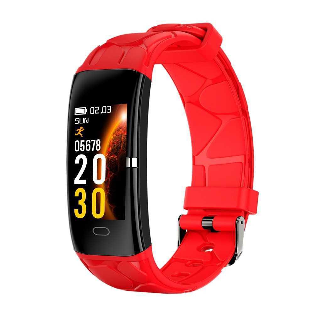 Smart Bracelet Heart Rate Blood Pressure Blood Oxygen Multi-Sports Mode IP67 Waterproof Fitness Smartwatches (Red)