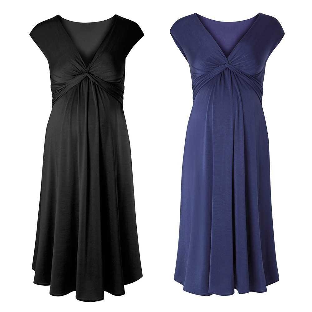 Women Maternity Dress One-piece Robe Ruched V-Neck Sleeveless Nursing Pregnancy Clothes Black XL (Black)