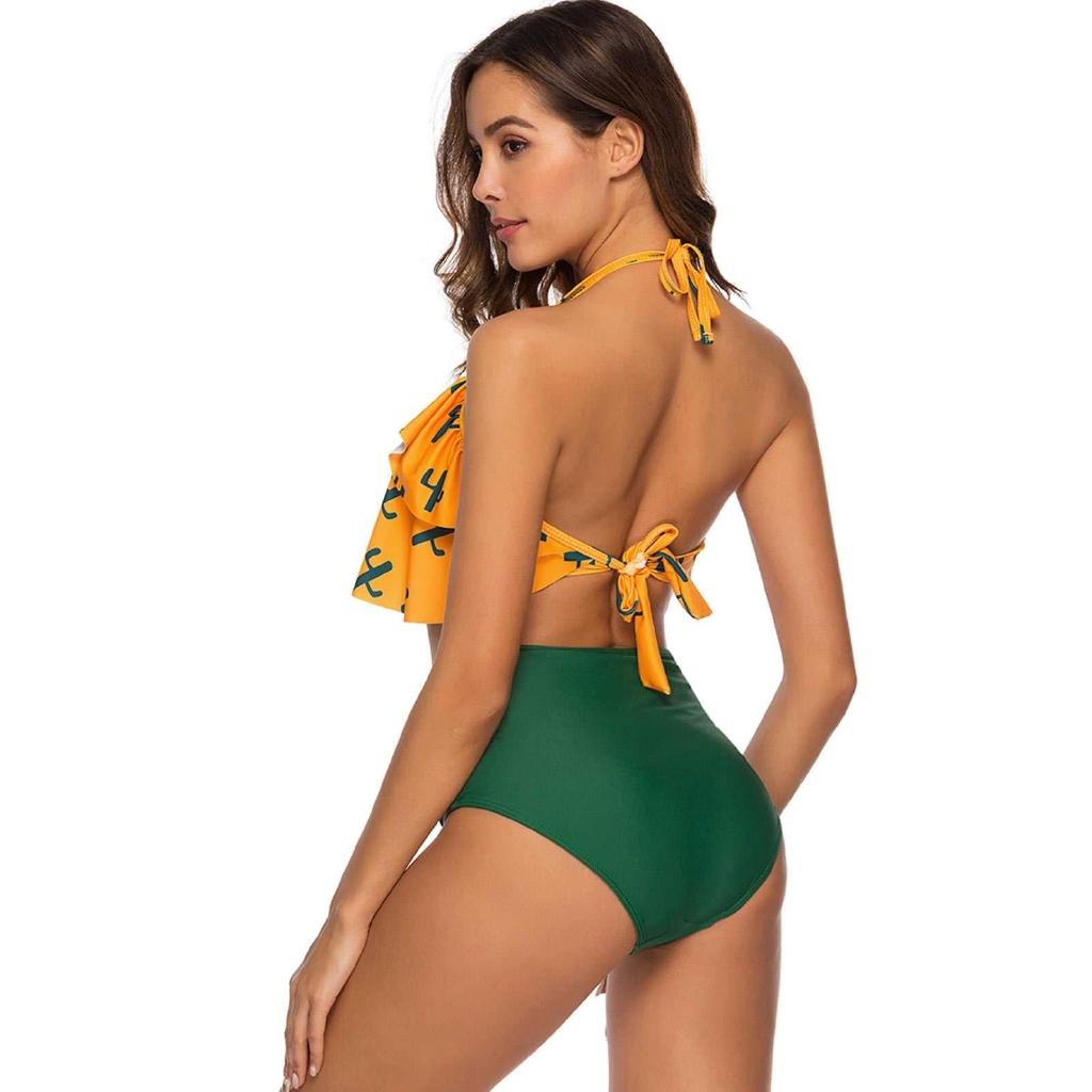 Cactus Print Halter Flounce Bikini Set (Yellow)