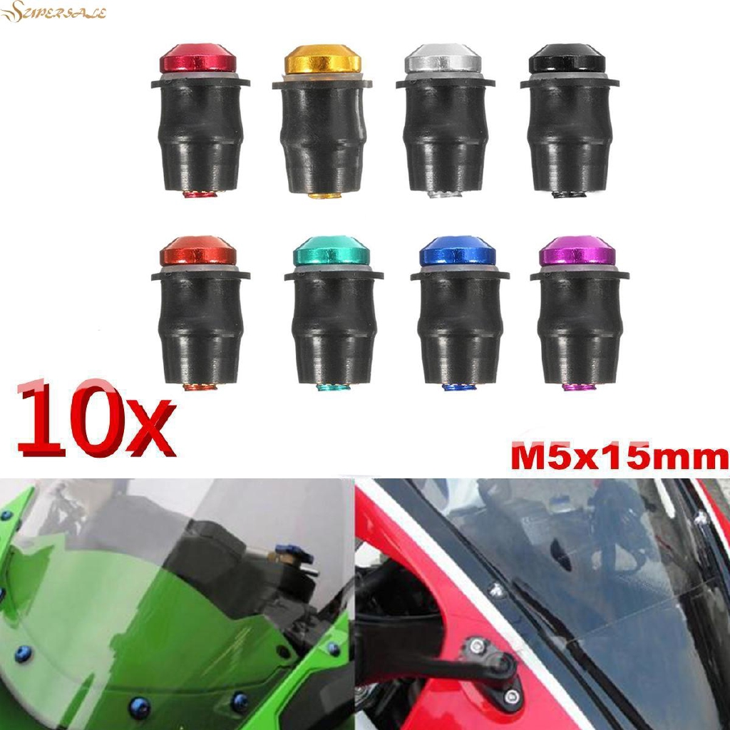 10PCS M5 Well Nuts Fairing Fasteners Windshield Motorcycle Accessories Screws Rubber and Steel Parts Windscreen Nuts