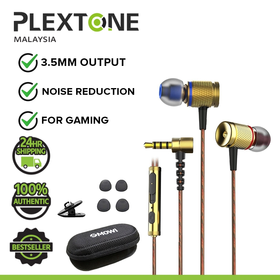 Plextone DX2 Metal Bass Head Wired Stereo in-Ear Earphones In-line Control Hands-free With Mic Headset Sports Gaming Ear