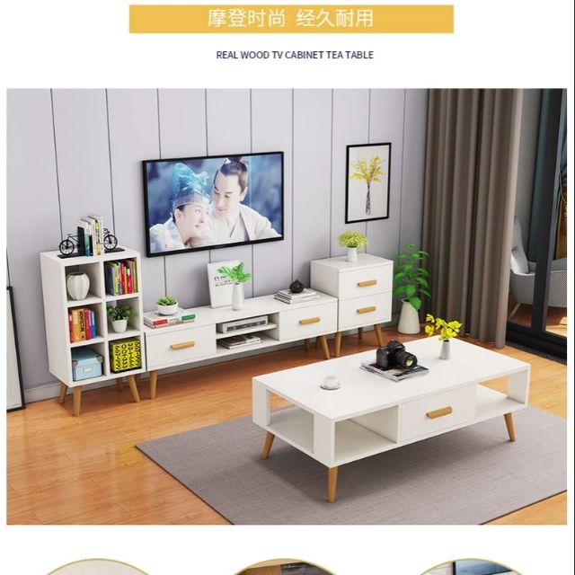free shipping 31c7e 3ab38 Nordic coffee table TV cabinet combination modern minimalist small apartment