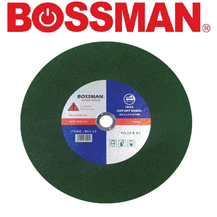 BOSSMAN BGC14 CUTTING WHEEL EX-TRA EASYCUT CUTTING WHEEL (INOX)14'' GREEN WELDING ACCESSORIES EASYUSE SAFETY GOODQUALITY