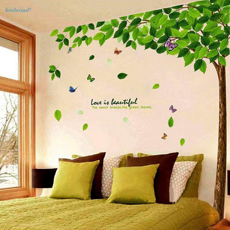 สติกเกอร์ ติดผนัง พิมพ์ลายต้นไม้ DIY ลอกออกได้ สำหรับตกแต่งบ้าน สี