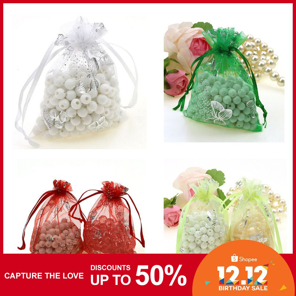 Lot of 100 50 Organza Candy Sweet Sheer Jewelry Gift Bags Wedding Favors Pouch