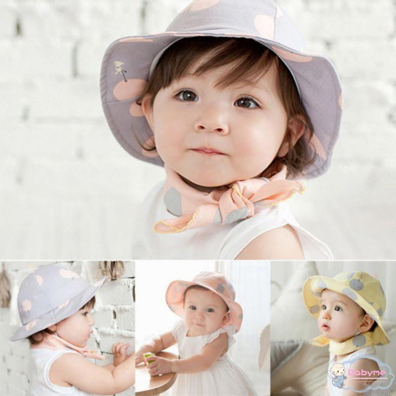 b834af237 ♕ babyme ღ Children Sun Cap Polka Dot Outdoor Baby Girl Beach Bucket Hat