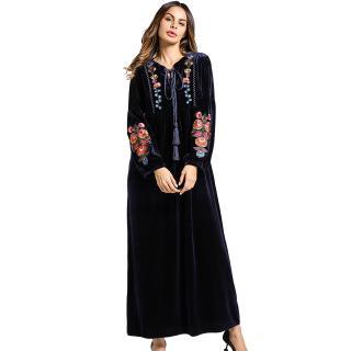 a76121f9633 2018 women clothing Striped Denim Long Islamic Muslim maternity wear Dresses