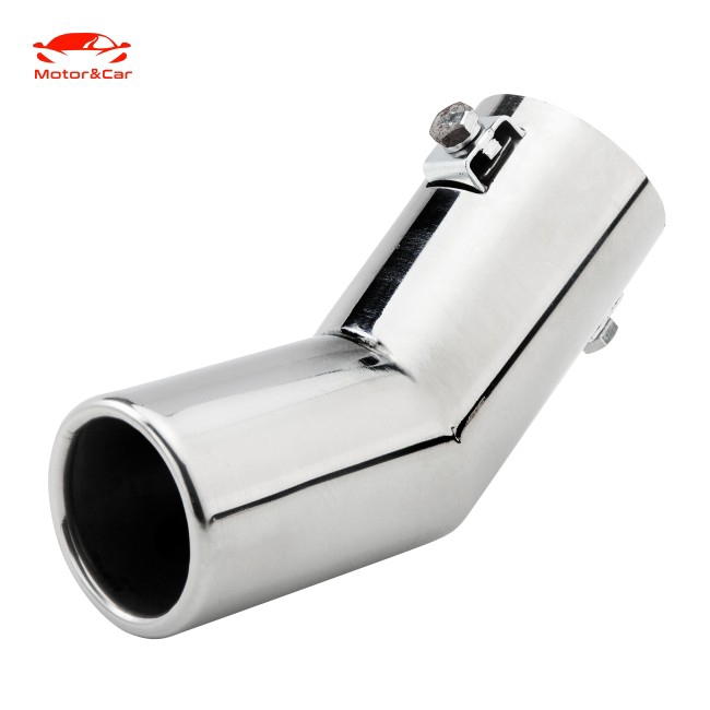 US Stock 61mm Bent Chrome Stainless Steel Car Rear Exhaust Pipe Tail Muffler Tip