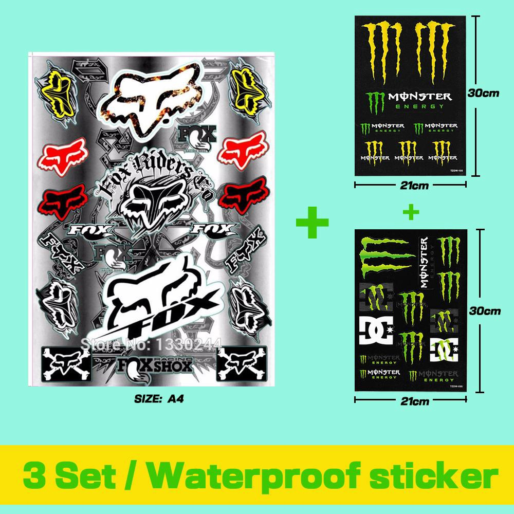 A4 Fox Head Skull Stickers For Motorcycle2 Set Monster Energy Decals