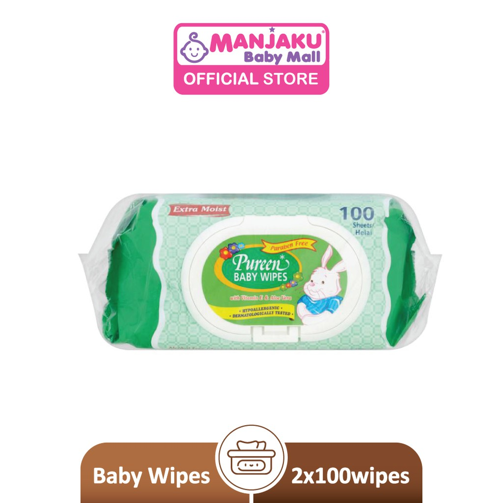 Pureen Baby Wipes - Green (2 x 100's)