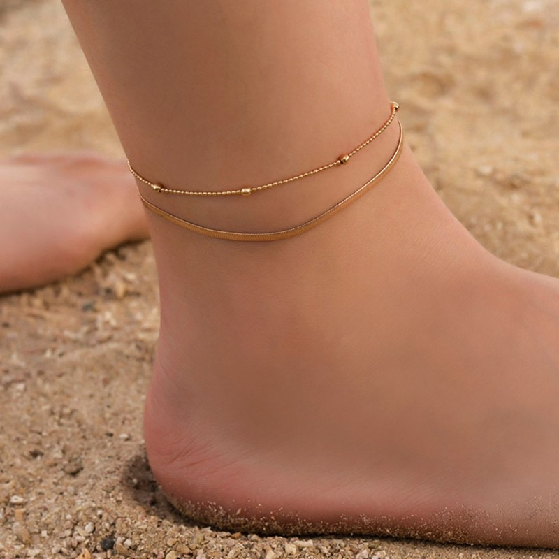 Beaded Stylish Diamond Small Pendant Double Anklet Silver Summer Anklet EG