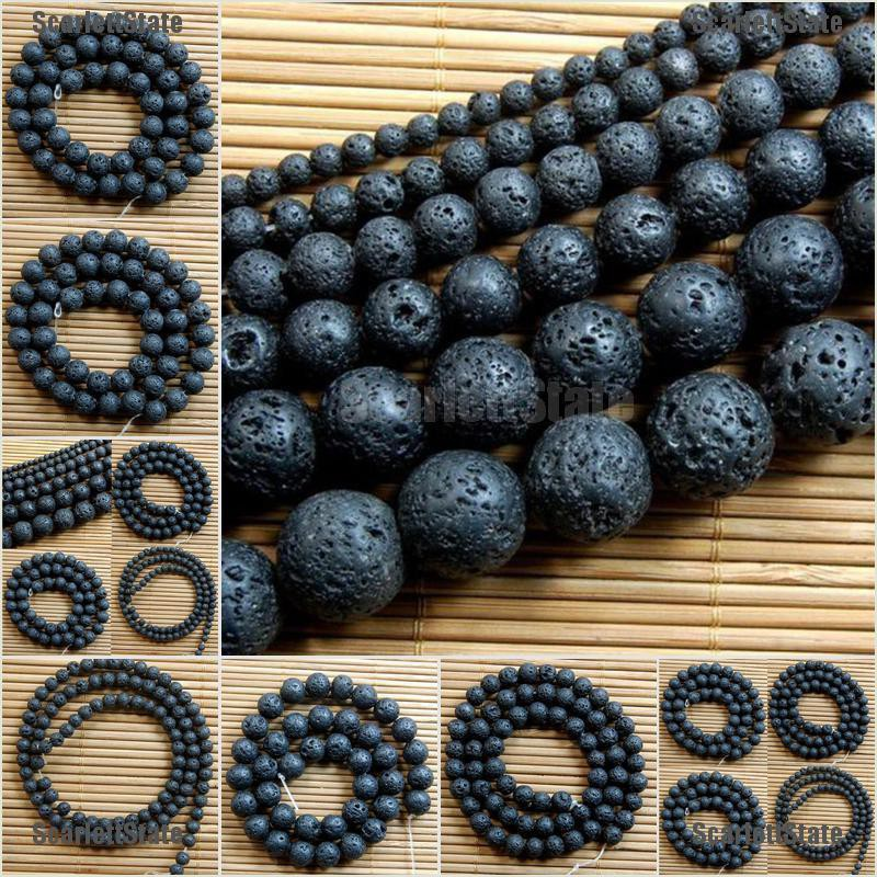 Natural Nature Black Volcanic Lava Gemstone Round Beads 15/""