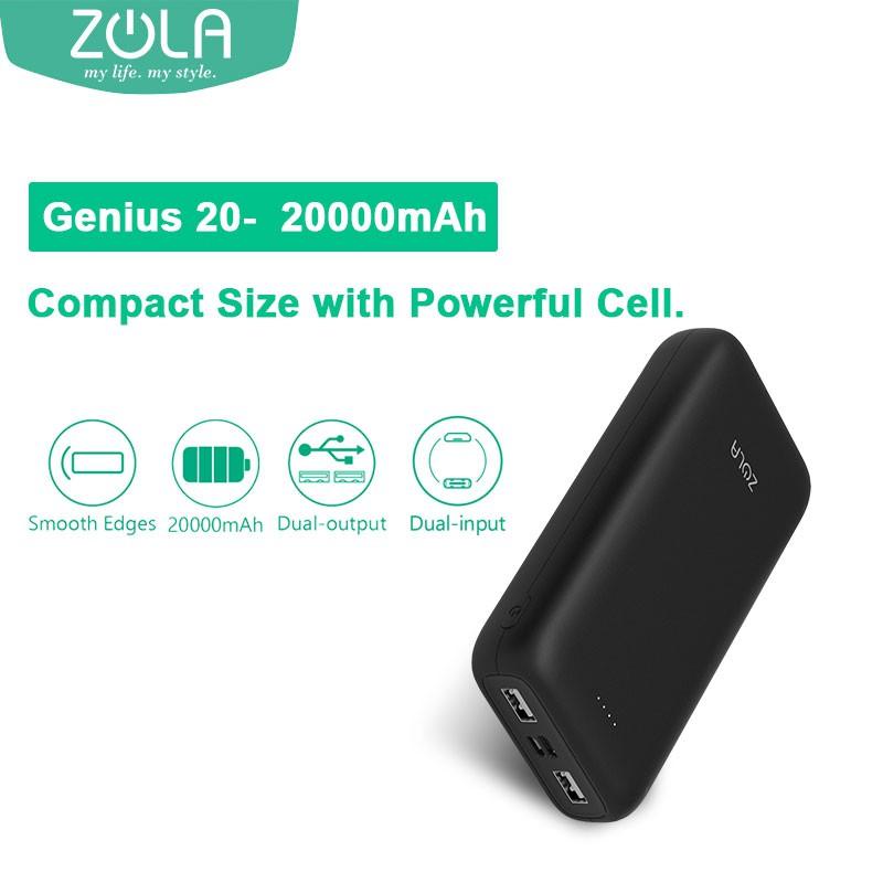 Zola Genius 20 Compact Size 20000mAh 2.1A Fast Charging Power Bank
