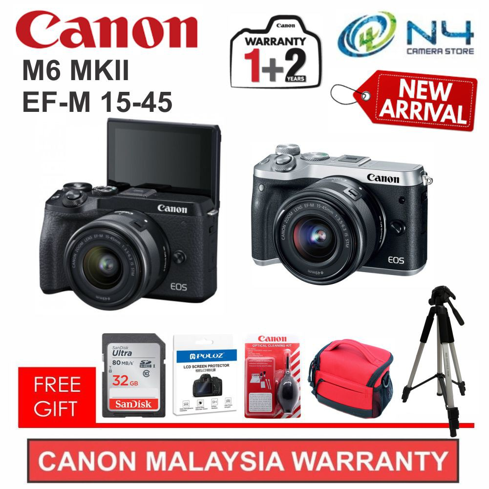[NEW 2019] Canon EOS M6 MARK II EF-M 15-45 + 32gb Card + Screen Protector + Cleaning Kit + Bag + Tripod (Original WTY)