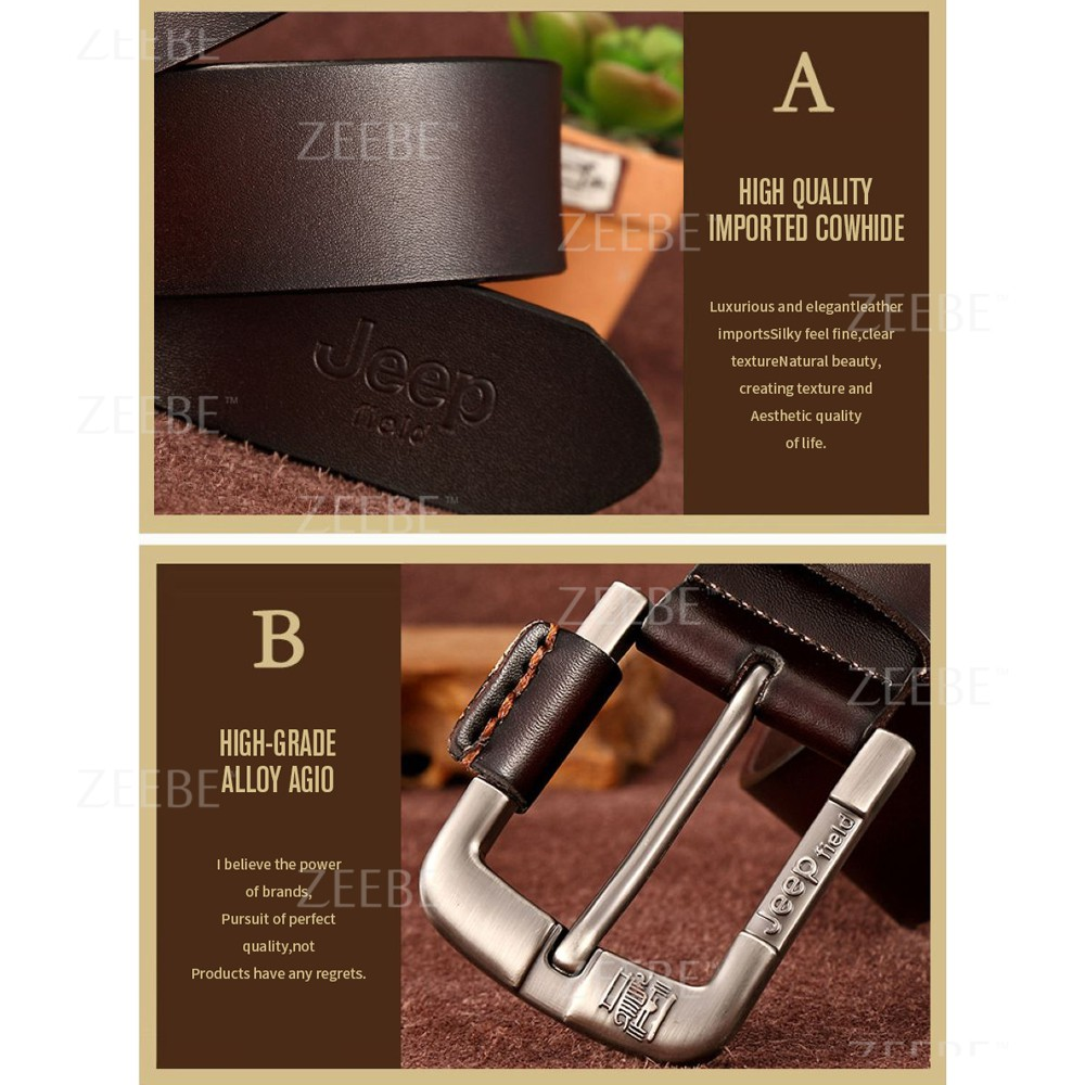 ZEEBE JEEP 100% Top Cow Buckle Genuine Leather Belt With Pin