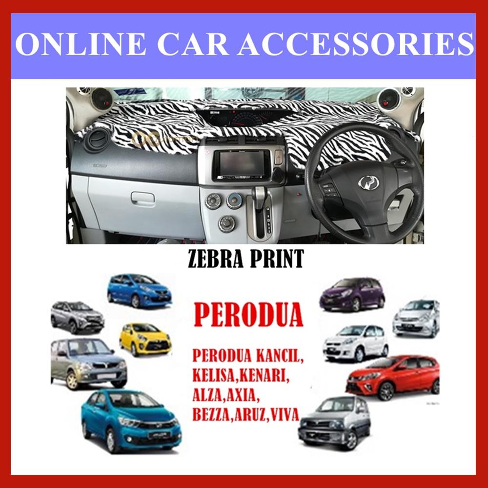 Customized Dashboard Cover Fur /Bulu For Perodua Car (Myvi,Kelisa,Alza,Axia,Aruz,Viva,Kancil,Kenari,Bezza) - Zebra Print