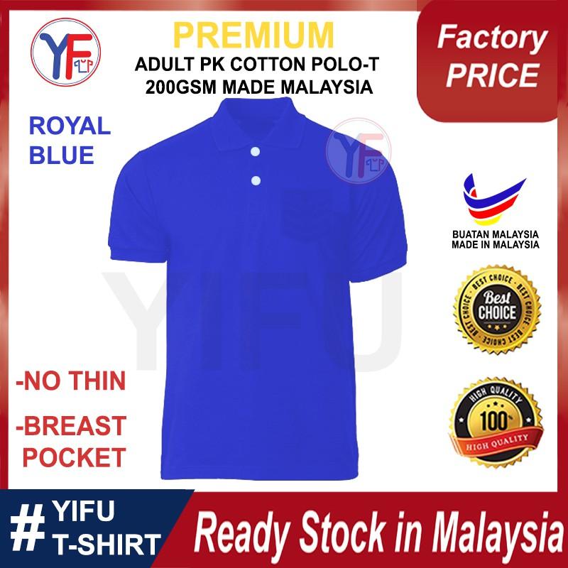 YIFU Adult Unisex  Men Women Polo Tee Plain HoneyComb Cotton Baju Polo Tee HoneyComb Cotton (RoyalBlue)  Borong Price