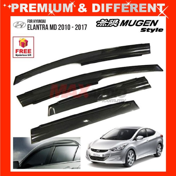 [FREE Gift] HYUNDAI ELANTRA MD 2010 - 2015 MUGEN STYLE Smoke Black Rain Guard Acrylic Window Door Visor (4pcs/Set)