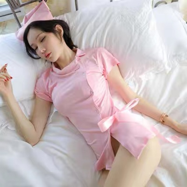 [Free Size] Nightwear Cosplay Nurse Uniform Suit 情趣内衣性感紧身透视护士制服短裙诱惑连衣裙睡衣套装午夜魅力女
