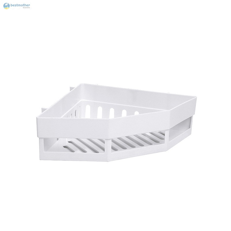 CORNER SELF WITH ADHESIVE SUCTION HOLDS UP TO 10 KG STRONG PLASTIC TRAY//BASKET FOR BATHROOM HOME STORAGE ORGANIZER