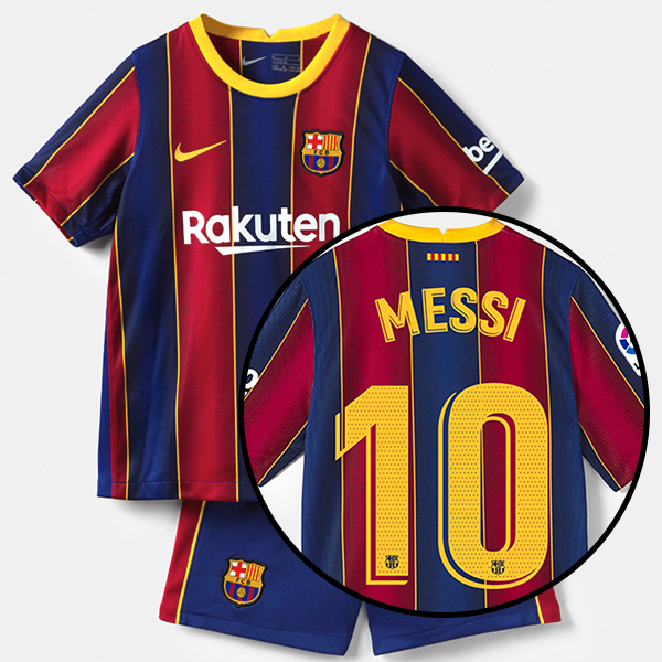 Barcelona Kid Home Season 20/21 Fans Issue Jersey and Shorts with #10 MESSI + La Liga Patch Printing