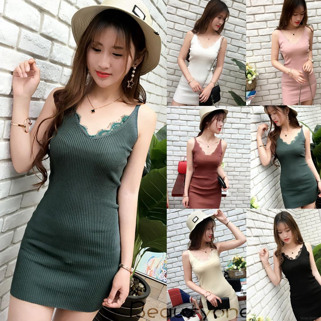 526960cb0e9 🌟Women Sexy Knitted Sleeveless Strap Solid Lace Stitching Bodycon Dress