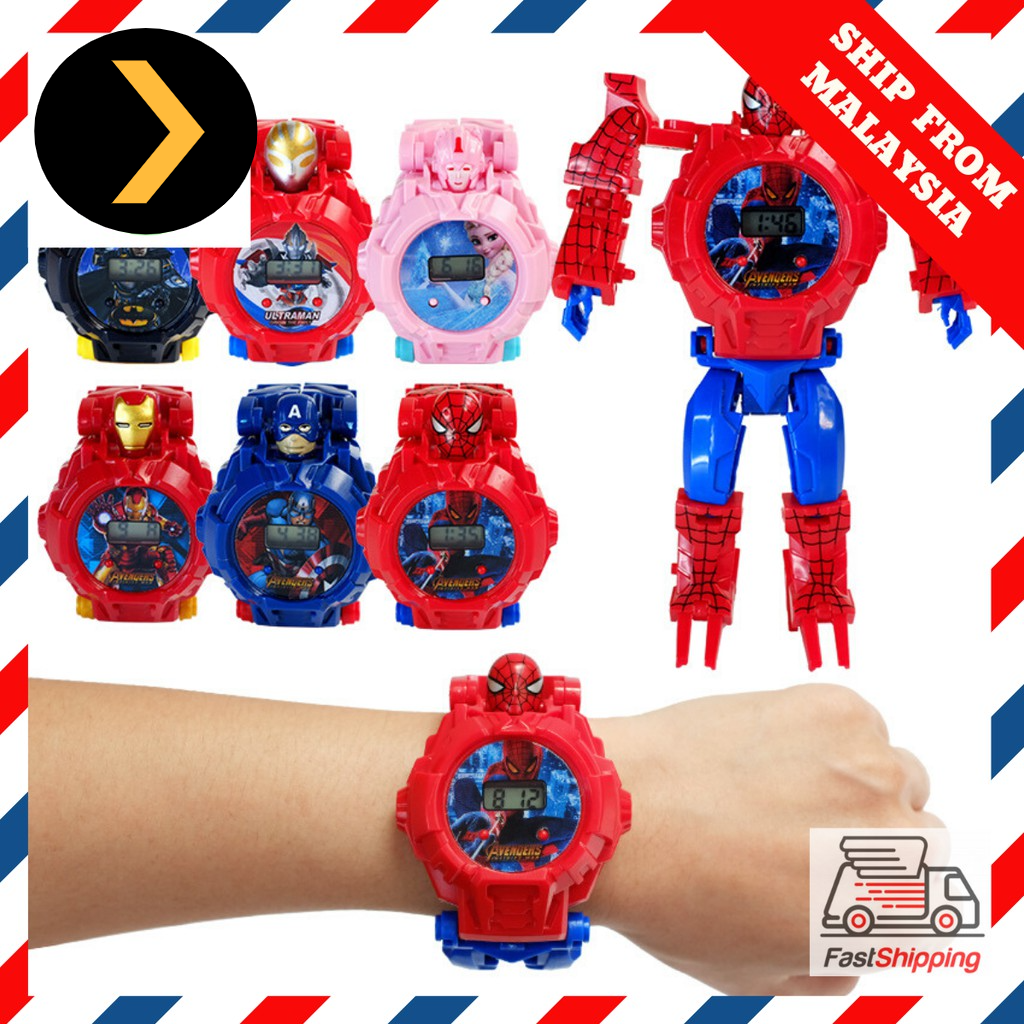 Coolest Watch Transformation Toy Watch Digital Avengers Batman Ultraman Frozen Kid Jam Kanak Childen Girl Boy